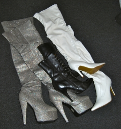 Silver thigh highs, white knee boots, black ankle boots